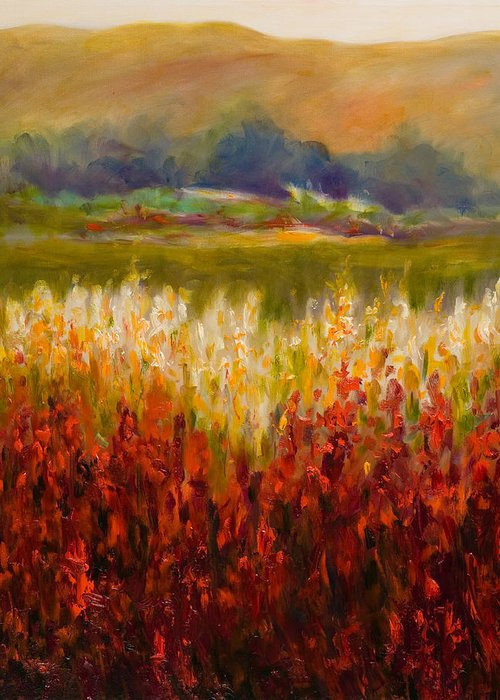 Landscape Greeting Card featuring the painting Santa Rosa Valley by Shannon Grissom