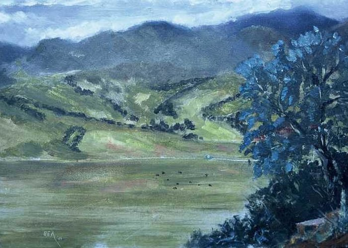 Only 42 Degrees On The First Day Of Spring Greeting Card featuring the painting Santa Yanez Valley    First Day Of Spring by Bryan Alexander