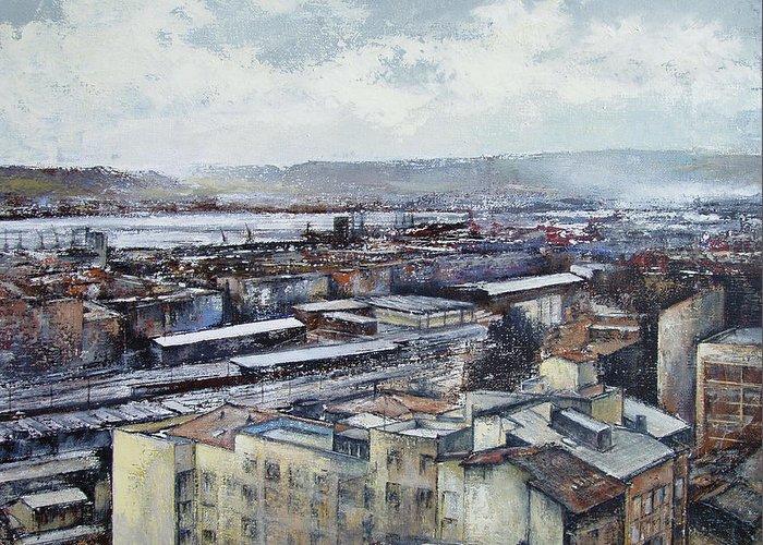 Santander Greeting Card featuring the painting Santander Panoramic by Tomas Castano