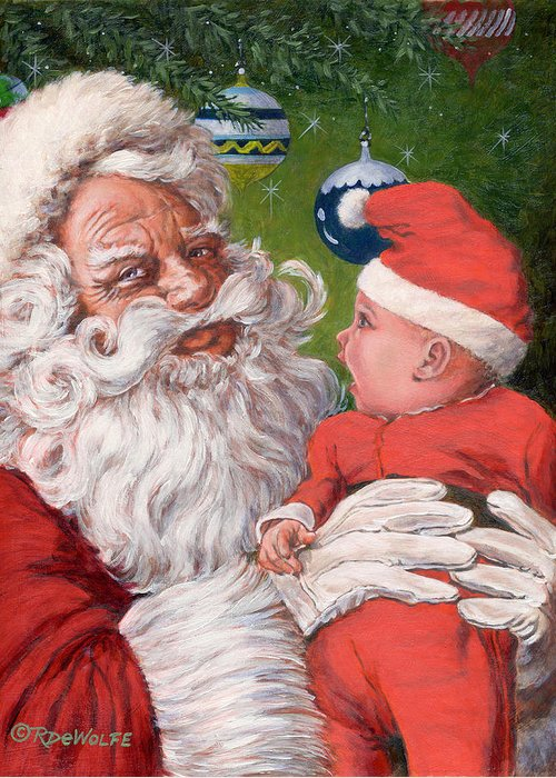 Santa Claus Greeting Card featuring the painting Santas Little Helper by Richard De Wolfe