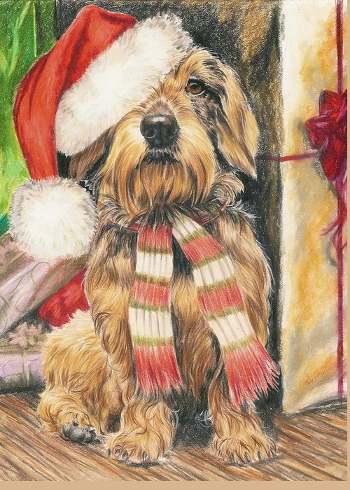 Hound Group Greeting Card featuring the drawing Santas Little Yelper by Barbara Keith