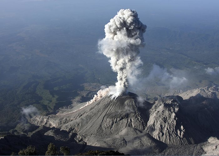 No People Greeting Card featuring the photograph Santiaguito Ash Eruption, Guatemala by Martin Rietze