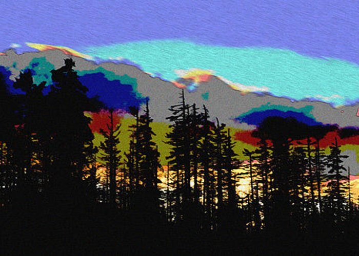 Santiam Sunset Greeting Card featuring the digital art Santiam Sunset by John Higby
