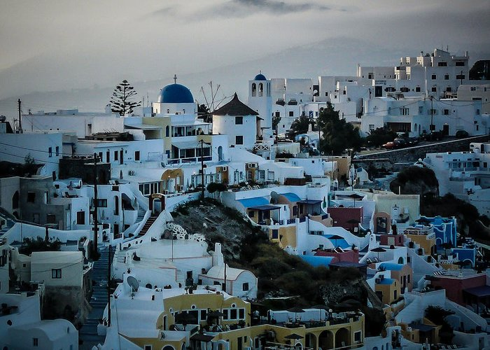 Greece Greeting Card featuring the photograph Santorini Misty Morn by Pamela Newcomb