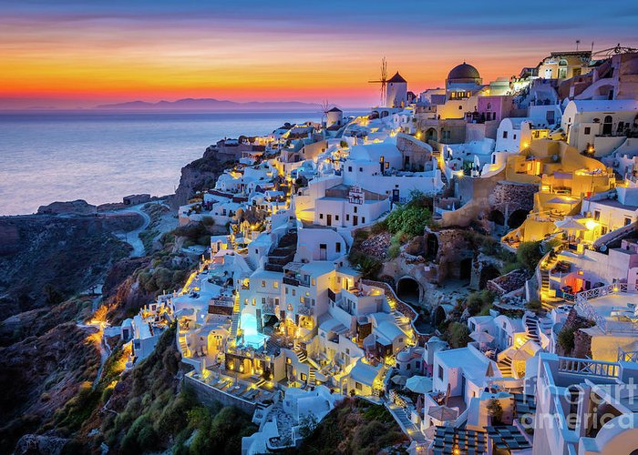 Aegean Sea Greeting Card featuring the photograph Santorini Sunset by Inge Johnsson