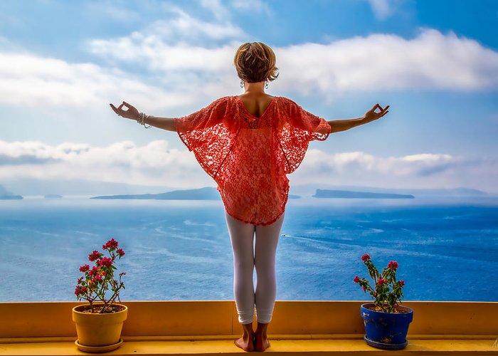 Santorini Greeting Card featuring the photograph Santorini Yoga Goddess by Stuart Smith