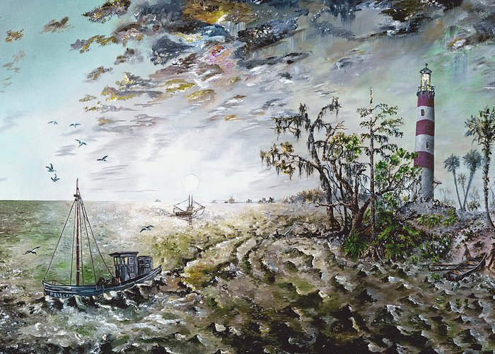 Lighthouse Greeting Card featuring the painting Sapelo Island by Richard Barham
