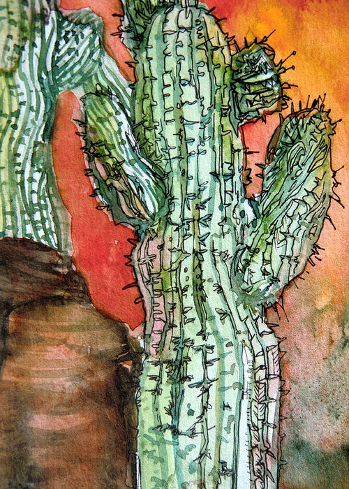 Cactus Greeting Card featuring the painting Saquaros by Mindy Newman