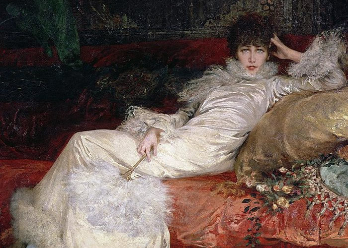 Sarah Bernhardt (1844-1923) 1876 (oil On Canvas) Greeting Card featuring the painting Sarah Bernhardt by Georges Clairin