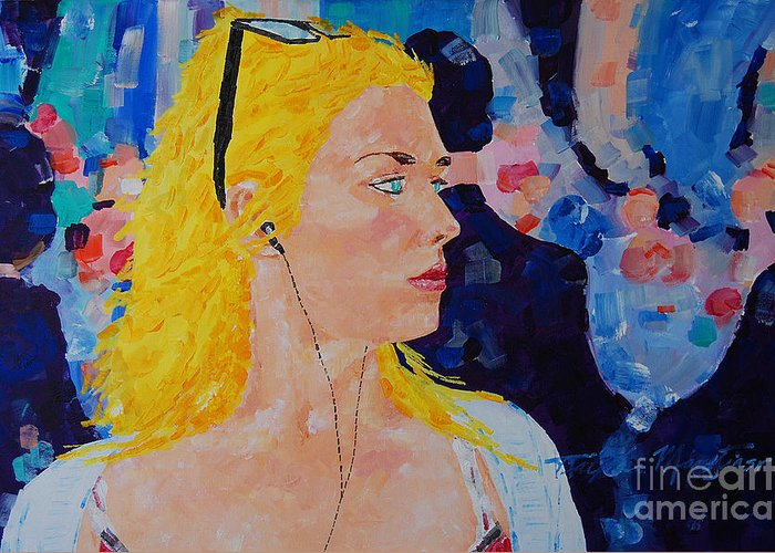 Portraiture Greeting Card featuring the painting Sarah Dont Turn Away by Art Mantia