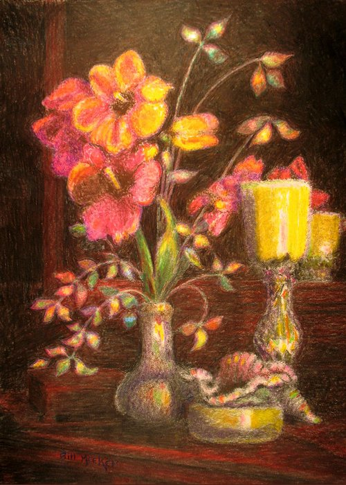 Still Life Greeting Card featuring the painting Sarah's Bouquet by Bill Meeker