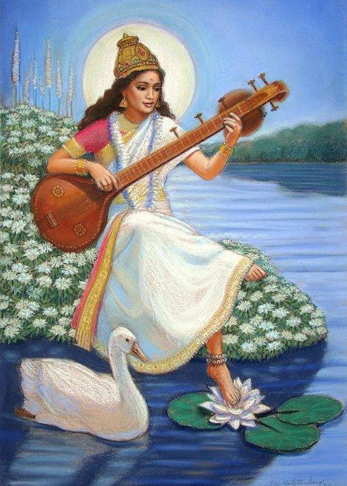 Hindu Goddess Greeting Card featuring the painting Sarasvati by Sue Halstenberg