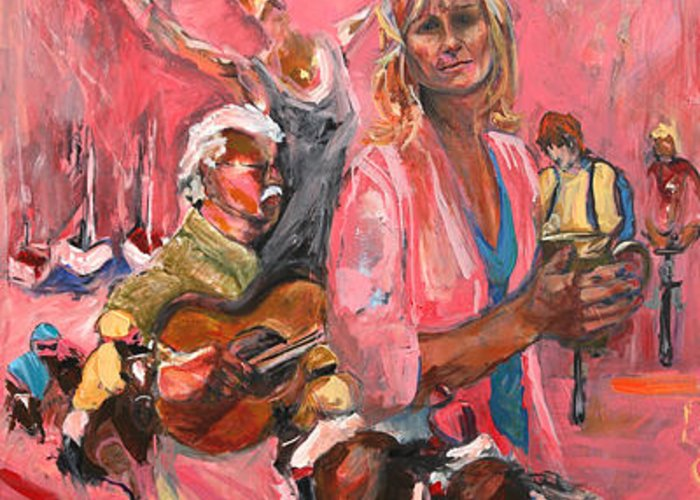 Saratoga Springs Greeting Card featuring the painting Saratoga Pink Sheet by Michelle Winnie