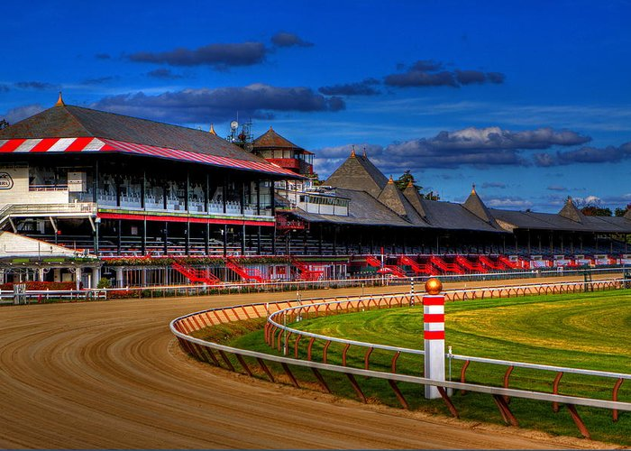 Saratoga Greeting Card featuring the photograph Saratoga Race Track by Don Nieman