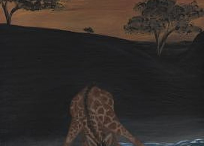 Giraffe Greeting Card featuring the painting Sarengeti by Hollie Leffel