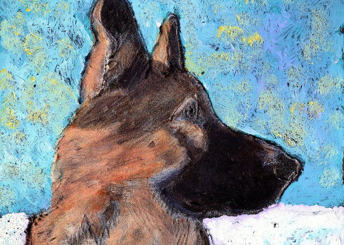 Dog Greeting Card featuring the painting Sarge II by Wayne Potrafka
