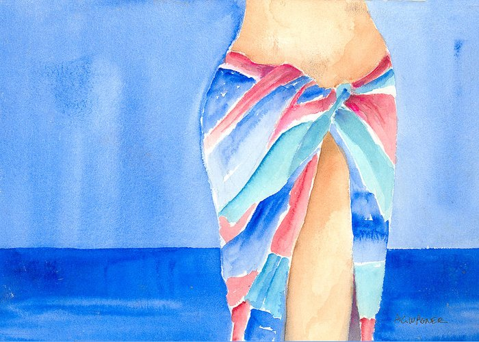 Sarong Greeting Card featuring the painting Sarong by Arline Wagner