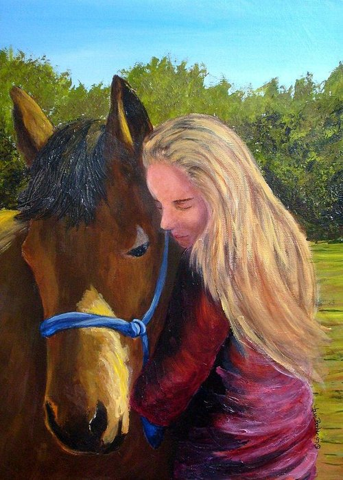 Greeting Card featuring the painting Sasha And Chelsea by Tami Booher