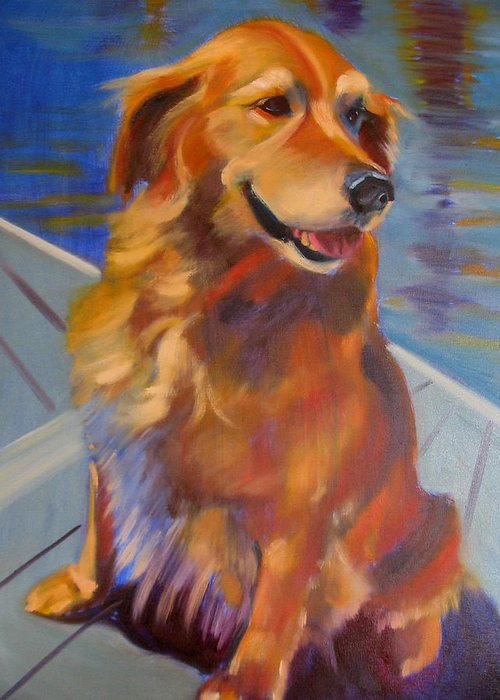 Golden Retriever Greeting Card featuring the painting Sasha by Kaytee Esser
