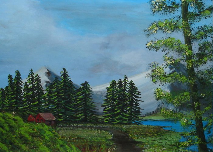 Scenery Greeting Card featuring the painting Saskatchewan by Lessandra Grimley