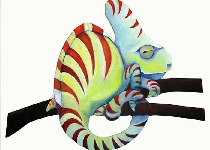 Chameleon Greeting Card featuring the painting Sassy Chameleon by Susan Clausen