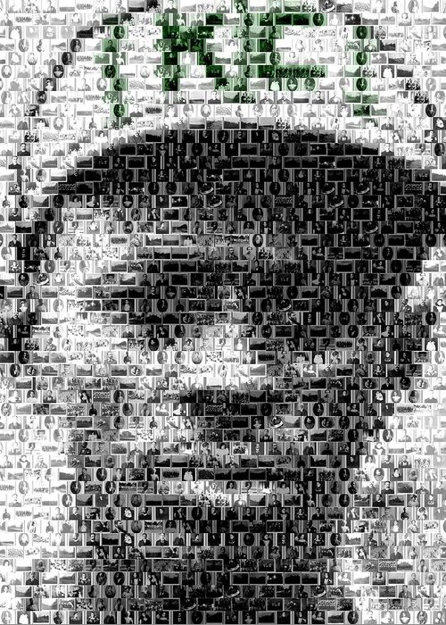 Negro Leagues Greeting Card featuring the mixed media Satchel Paige Kc Monarchs African American Mosaic by Paul Van Scott