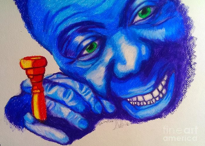 Portrait Greeting Card featuring the drawing Satchmo by ArtbyFuzz ShawnHill