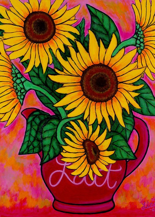 Sunflowers Greeting Card featuring the painting Saturday Morning Sunflowers by Lisa Lorenz