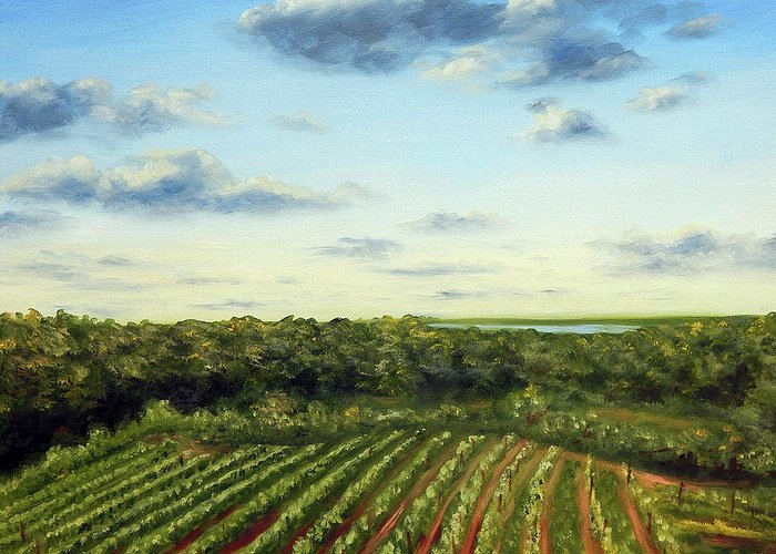 Vineyards Greeting Card featuring the painting Saude Creek Sunset I by Anne Kushnick