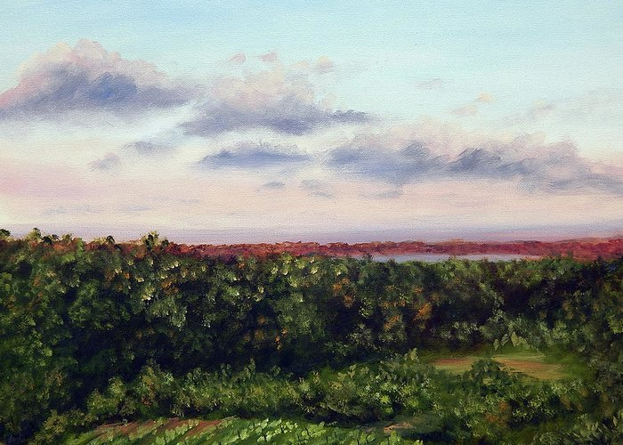 Vineyards Greeting Card featuring the painting Saude Creek Sunset II by Anne Kushnick