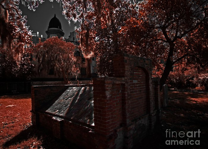 Savannah Greeting Card featuring the photograph Savanna Georia Colonial Park Cemetery Color Infrared 500 by Rolf Bertram