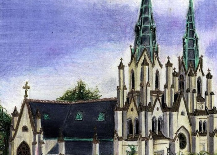 Buildings Greeting Card featuring the drawing Savannah Cathedral by Scarlett Royal
