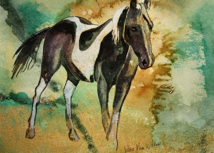 Saddle Horse Greeting Card featuring the painting Savannah by Debbie Wilson