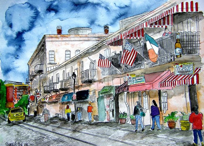 Pen And Ink Greeting Card featuring the painting Savannah Georgia River Street by Derek Mccrea