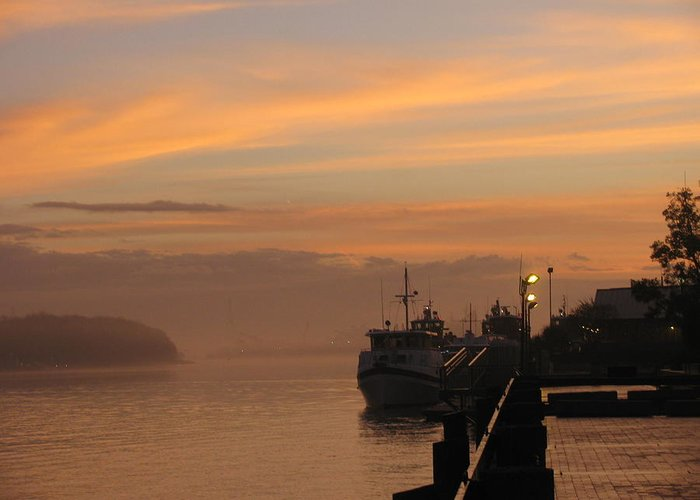 Lovely Morning' Boats' Coming In Greeting Card featuring the photograph Savannah Harbor by Tyrone Spann