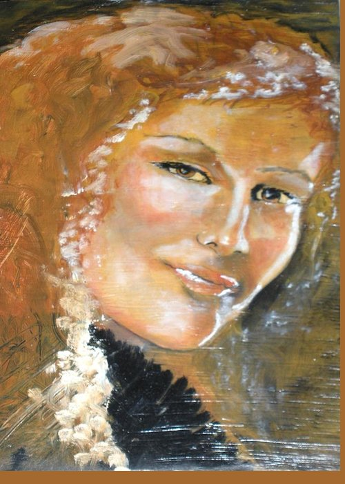 Angels Greeting Card featuring the painting Savannah Smiles Again Finished by J Bauer