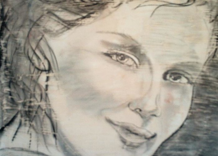 Woman Greeting Card featuring the drawing Savannah Smiles Again by J Bauer