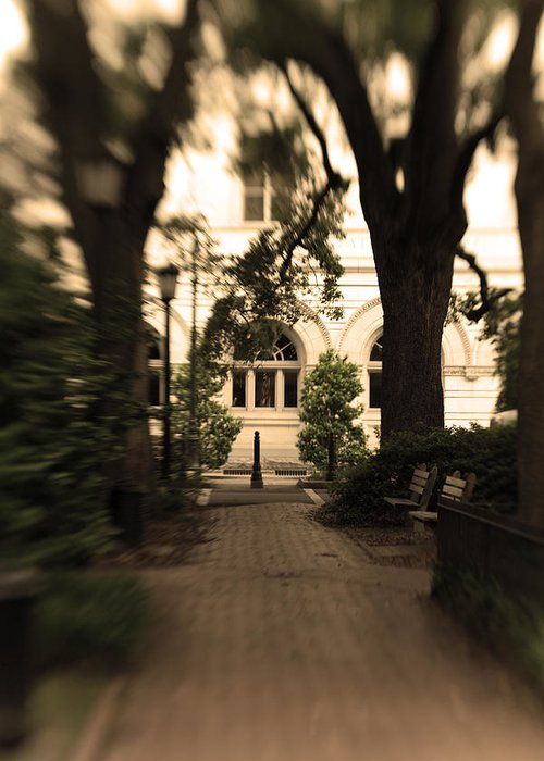 Photo Greeting Card featuring the photograph Savannah Square by Sandy Belk