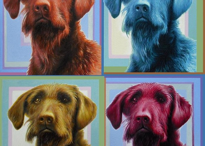 Dog Greeting Card featuring the painting Savannah The Labradoodle by Hans Droog
