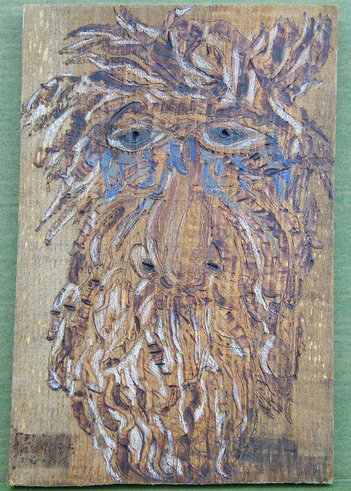 Woodburn Greeting Card featuring the pyrography Save My Trees by Margaret G Calenda