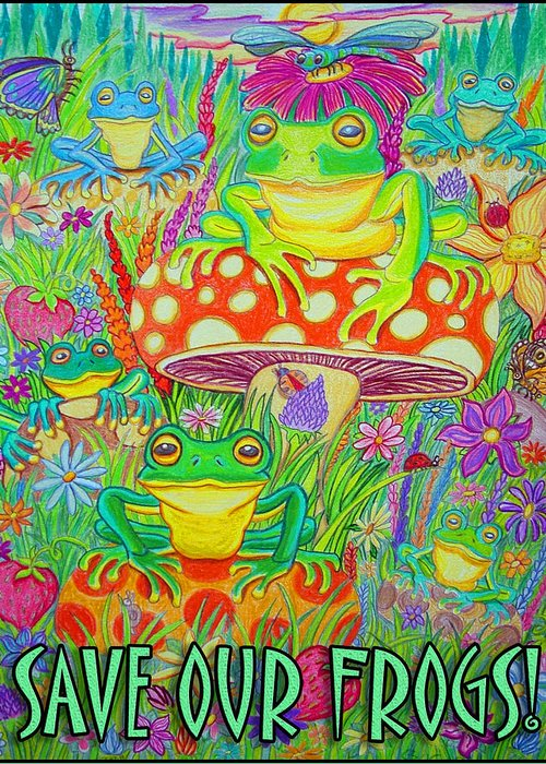 Frogs Greeting Card featuring the drawing Save Our Frogs by Nick Gustafson