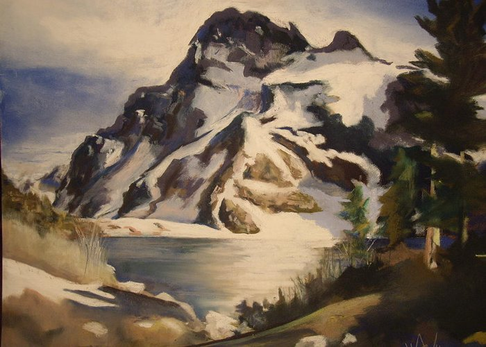 Mountain Greeting Card featuring the painting Sawtooth Mountain Lake by Debbie Anderson