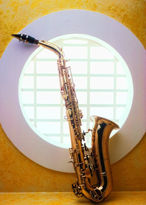 Saxophone Greeting Card featuring the photograph Saxophone In Round Window by Garry Gay
