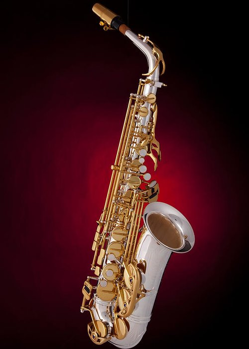 Saxophone Greeting Card featuring the photograph Saxophone On Red Spotlight by M K Miller