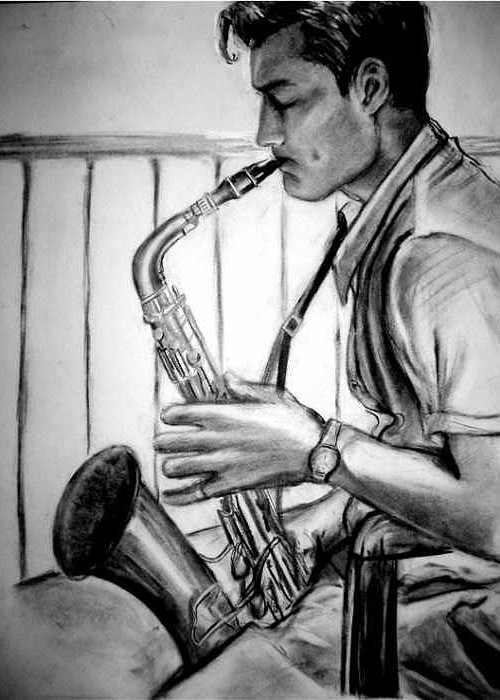 Handsome Man Greeting Card featuring the drawing Saxophone Player by Laura Rispoli