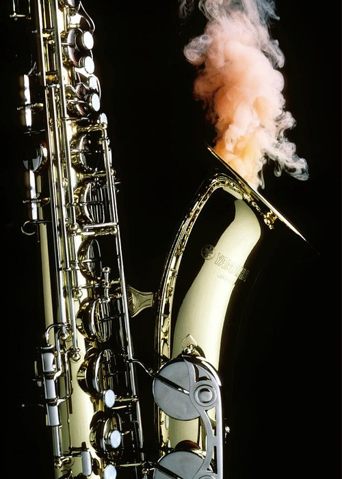 Saxophone Smoke Music Sound Greeting Card featuring the photograph Saxophone With Smoke by Garry Gay