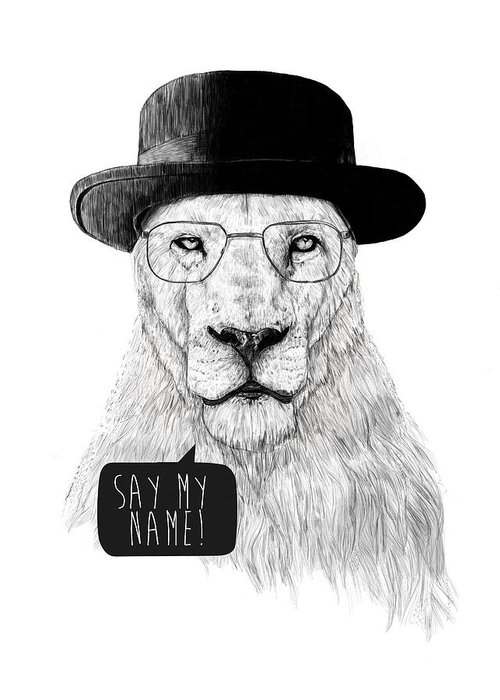 Lion Greeting Card featuring the mixed media Say my name by Balazs Solti