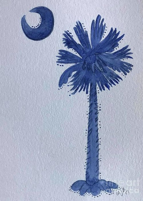 Greeting Card featuring the painting Sc Palmetto And Crescent by Mitzi Bennett