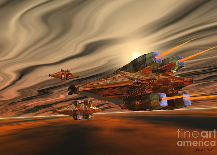 Space Art Greeting Card featuring the painting Scadlands by Corey Ford