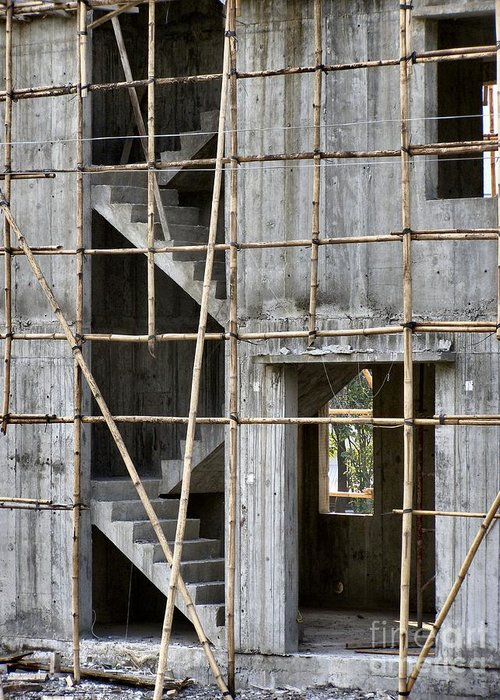 Building Greeting Card featuring the photograph Scaffolds And Stairs by Kathy Daxon